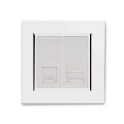 RetroTouch Dual Cat 5E/RJ11 Socket White Glass CT 00335